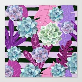 Succulent Stripes Canvas Print