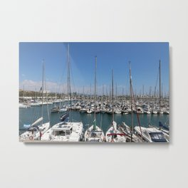 Boats in Barcelona Metal Print
