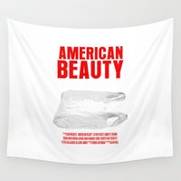 movie poster Wall Tapestries featuring American Beauty Movie Poster by FunnyFaceArt