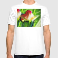 Blooming Rose White Mens Fitted Tee MEDIUM