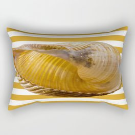 A Sea Shell with Nautical Stripes in Butterscotch and White Rectangular Pillow