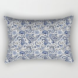 Blue and white paisley Rectangular Pillow