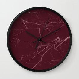 modern burgundy marble look Wall Clock