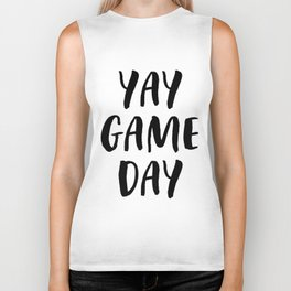 Yay Game Day Football Sports Black Text Biker Tank
