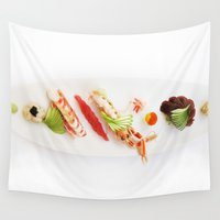 sushi Wall Tapestries featuring Sushi by Sushibird