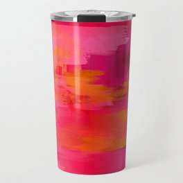 """Abstract brushstrokes in pastel pinks and solar orange"" Travel Mug"