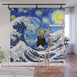 The Great Wave Off Kanagawa Starry Night Scream Wall Mural