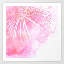 Abstract Pink Palm Tree Leaves Design Art Print