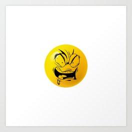 Crazy Furious Smiley Art Print