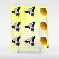 milk Shower Curtains featuring Milk Milk Lemonade by sabsurd