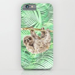 Let's hang out -- watercolor sloth iPhone Case