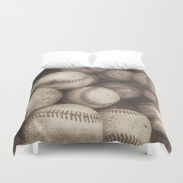 Bucket of Old Baseballs in Sepia Duvet Cover