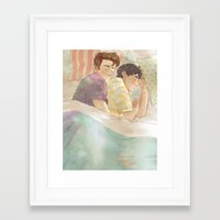 klaine Framed Art Prints featuring klaine cuddles by suitfer