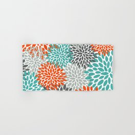 Floral Pattern, Abstract, Orange, Teal and Gray Hand & Bath Towel