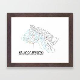 Mt. Hood, OR - Minimalist Trail Art Framed Art Print