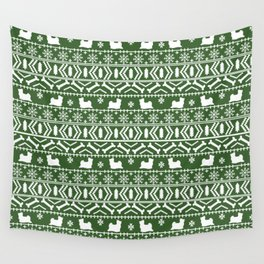Biewer Terrier fair isle christmas green and white pattern minimal dog breed pet designs Wall Tapestry