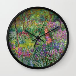 Claude Monet The Iris Garden At Giverny Wall Clock