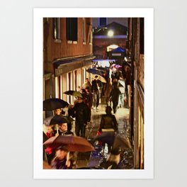 Venice: Night Rain Art Print
