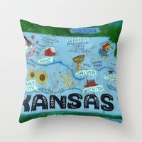 kansas Throw Pillows featuring KANSAS by Christiane Engel