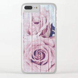 Shabby Chic Dusky Pink Roses On Blue Wood Background Clear iPhone Case