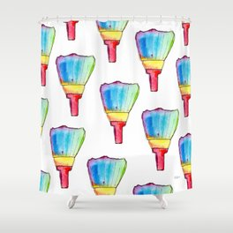 Paint Your Life With Your Colors nursery illustration colorful rainbow paint brush positive quote Shower Curtain