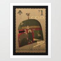 Boba Fett Vintage Stamp STAR.WARS digital art Art Print