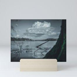 Cloudy Möhne Reservoir Lake 2 dark Mini Art Print