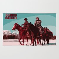 django Area & Throw Rugs featuring Django Unchained Movie Poster  by FunnyFaceArt