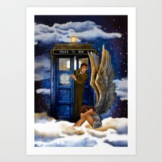 10th Doctor Who with Crying AngeL iPhone 4 4s 5 5s 5c, ipod, ipad, pillow case and tshirt Art Print