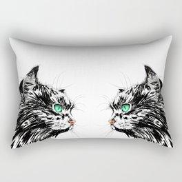 Green Eyed Cat Rectangular Pillow