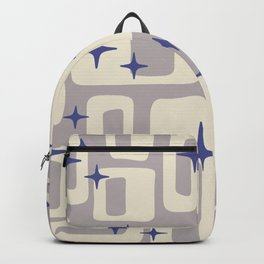 Retro Mid Century Modern Abstract Pattern 813 Gray and Blue Backpack