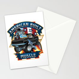 American Built Muscle - Classic Muscle Car Cartoon Illustration Stationery Cards