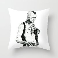 taxi driver Throw Pillows featuring Taxi Driver by Art & Ink