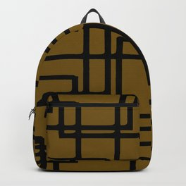 Retro Modern Black Rectangles On Meerkat Brown Backpack