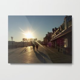 Couple On A Boardwalk Metal Print
