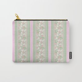 Pink Dogroses on Taupe in Stripes Carry-All Pouch