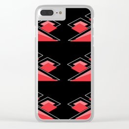 Traingle Pattern(Pink and Black) Clear iPhone Case
