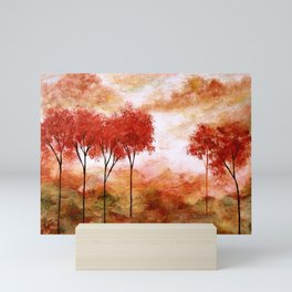 Burning Promise, Red Trees Landscape Art Mini Art Print