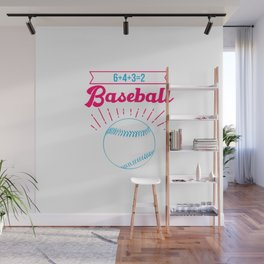 Baseball Math 6 4 3 2 Double Play Funny Sports Player Wall Mural