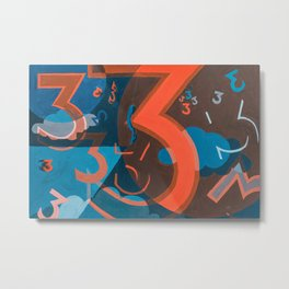 3 (Blue & Orange) Metal Print