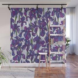 Iris flowers pattern Wall Mural