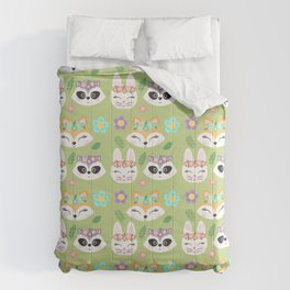 Woodland Animals Green Forest Comforters