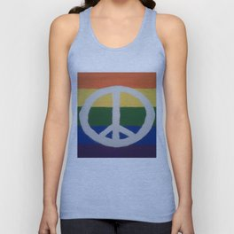 Rainbow Peace Sign Unisex Tank Top