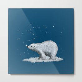 Polar Bear Snowflake Kiss Metal Print