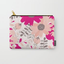 Big Flowers in Hot Pink and Accent Gray Carry-All Pouch