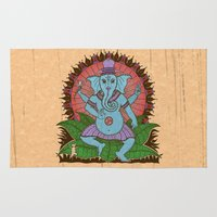 ganesh Area & Throw Rugs featuring peace ganesh by Peter Patrick Barreda