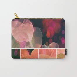 Blush and Persimmon Abstract Rose Pattern Carry-All Pouch