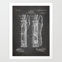 Golf Bag Patent - Caddy Art - Black Chalkboard Art Print