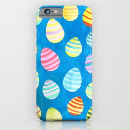 Easter Egg Watercolor Pattern -  Blue iPhone Case