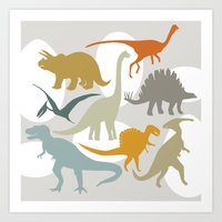 dinosaurs Art Prints featuring Dinosaurs by Jill Byers